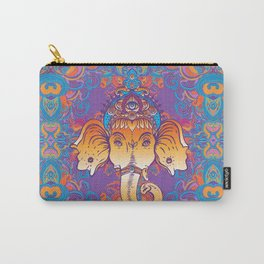 Hindu Lord Ganesha over ornate colorful mandala.  Carry-All Pouch