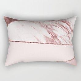 Spliced mixed pinks rose gold marble Rectangular Pillow