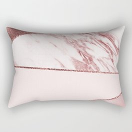 Spliced mixed pinks rose gold marble Rectangular Pillow