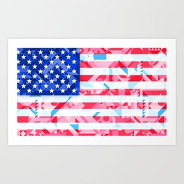 USA AMERICAN FLAG GEOMETRIC (MULTI COLOR, RED, WHITE, BLUE) Art Print
