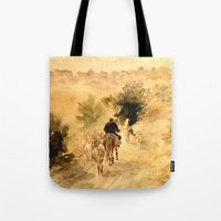 return Tote Bags featuring Return Home by Vargamari