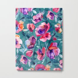 Flourish - a watercolor floral in pink and teal Metal Print