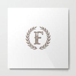 Beige Monogram: Letter F Metal Print