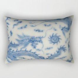 Damask vintage Monaco blue white girly ginger jar floral antique chinese dragon chinoiserie china Rectangular Pillow