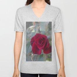 Red Bordo Rose Bloom Unisex V-Neck