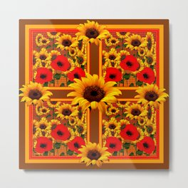 RED POPPIES YELLOW SUNFLOWERS BROWN PATTERN ART Metal Print
