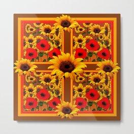RED POPPIES YELLOW SUNFLOWERS BROWN PATTERN ART Metal Print