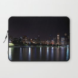 Chicago night skyline with fireworks, Usa. Laptop Sleeve