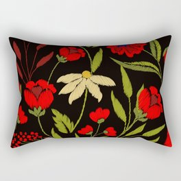 Floral embroidery Rectangular Pillow