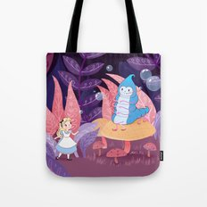 Alice In Wonderland and The Caterpillar Tote Bag