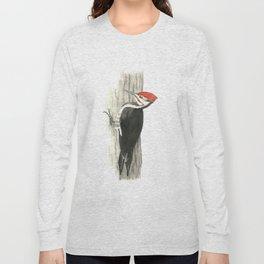 Pileated Woodpecker - Watercolor Long Sleeve T-shirt