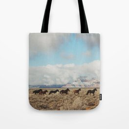 Running Reservation Horses Tote Bag