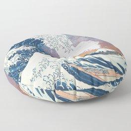 Great Wave Off Kanagawa Surrealism-Mount Fuji Eruption and Starry Sky Floor Pillow