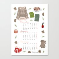 calendar Canvas Prints featuring Winter calendar by Babiole Design