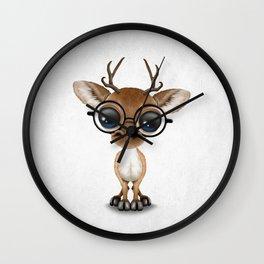 Cute Curious Nerdy Baby Deer Wearing Glasses Wall Clock