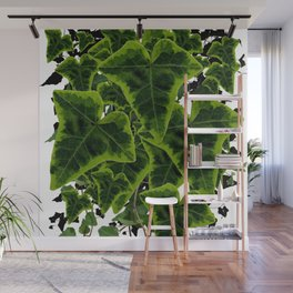 DECORATIVE GREEN IVY LEAVES PATTERN WHITE ART Wall Mural