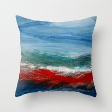 By the Angry Seashore Throw Pillow