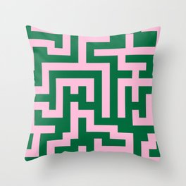 Cotton Candy Pink and Cadmium Green Labyrinth Throw Pillow