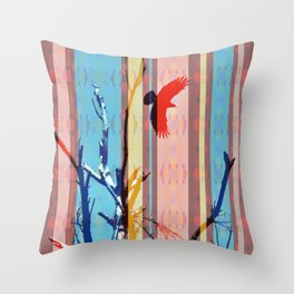 Southwestern Stripe Flying Crow Dead Tree Branches Colorful Throw Pillow