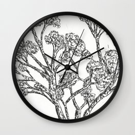 Black and white Rollerball Pen Tree Branches Drawing Wall Clock