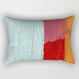 Desert Daydreams [2]: a vibrant, colorful abstract acrylic piece in pink, red, orange, and blue Rectangular Pillow