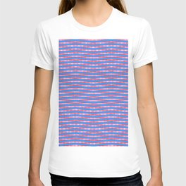 Waving Fuzzy Pink and Blue Pattern T-shirt