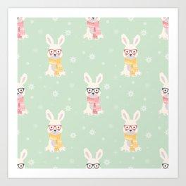 White rabbit Christmas pattern 001 Art Print