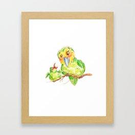 Kakapo and chick Framed Art Print