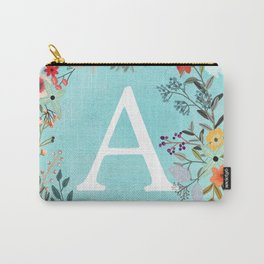 Personalized Monogram Initial Letter A Blue Watercolor Flower Wreath Artwork Carry-All Pouch