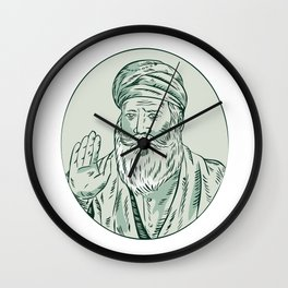 Sikh Guru Priest Waving Etching Wall Clock