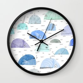 Whale party Wall Clock
