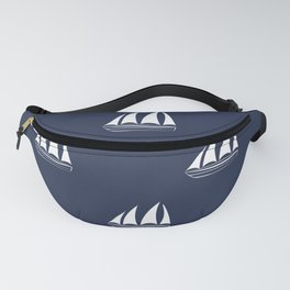 White Sailboat Pattern on navy blue background Fanny Pack