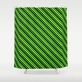 Bright Green and Black Diagonal LTR Var Size Stripes Shower Curtain