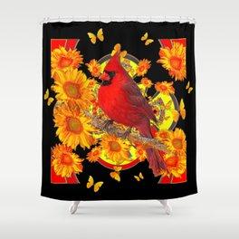 BUTTERFLIES  RED CARDINAL SUNFLOWERS BLACK ART Shower Curtain
