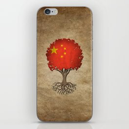 Vintage Tree of Life with Flag of China iPhone Skin
