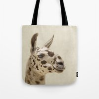 alpaca Tote Bags featuring Alpaca by The Moon and Mars