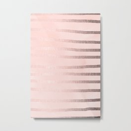 Rose Gold Pastel Pink Drawn Stripes Metal Print