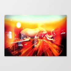 Elephant on the highway. Canvas Print