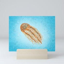 Jellyfish - blue and orange Mini Art Print