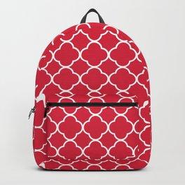 Clover Quatrefoil Pattern: Red Backpack