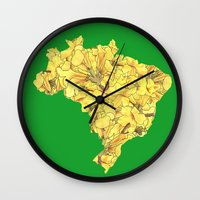 brazil Wall Clocks featuring Brazil by Ursula Rodgers