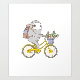 Biking Sloth Art Print