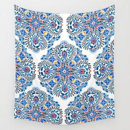 Blue-red mandala Wall Tapestry