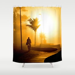 Bike ride at sunrise Shower Curtain