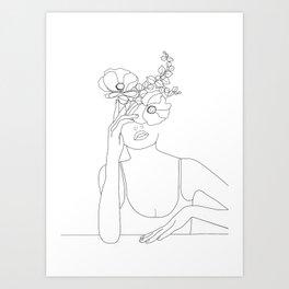 Minimal Line Art Woman with Flowers II Art Print