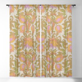 Orange, Pink Flowers and Green Leaves 1960s Retro Vintage Pattern Sheer Curtain