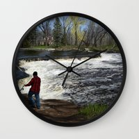 spawn Wall Clocks featuring Salmon Jump by Michael Hewitt
