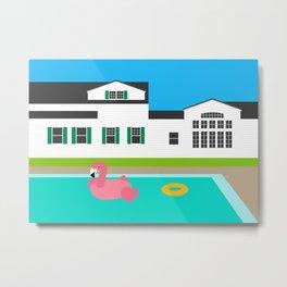 Summer House Pool Flamingo Float Backyard Metal Print