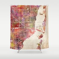 miami Shower Curtains featuring Miami by Map Map Maps