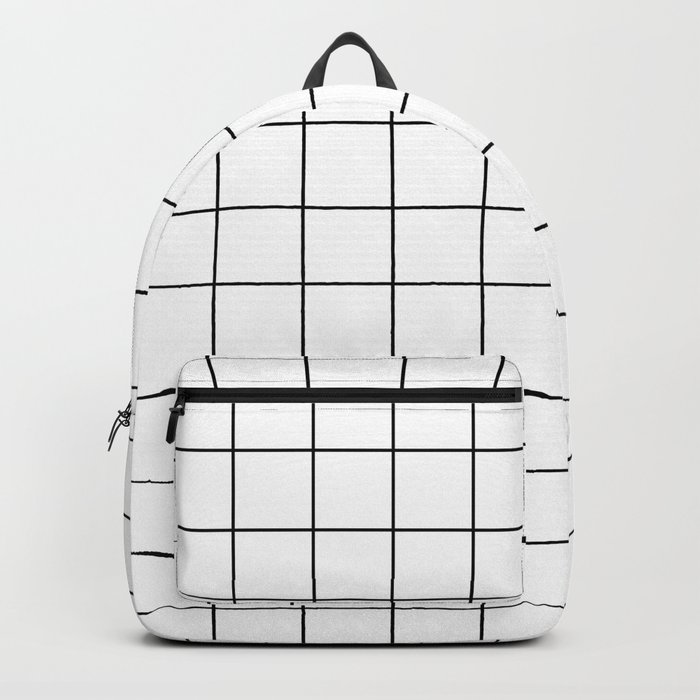 Grid Stripe Lines Black and White Minimalist Geometric Backpack